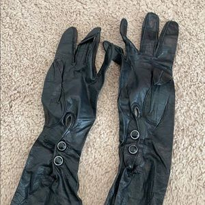 Vintage - long black thin gloves